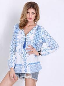 White Long Sleeve V Neck Vintage Print Blouse