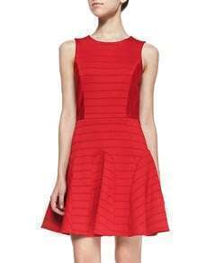 Red Round Neck Sleeveless Dress