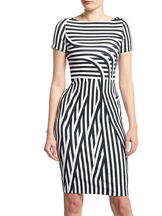 White Black Round Neck Short Sleeve Striped Dress