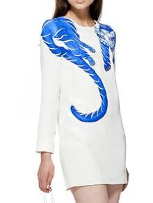 White Round Neck Long Sleeve Fox Print Dress