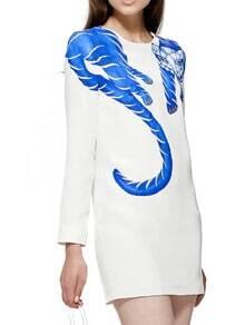 White Round Neck Long Sleeve Fox Print Dress