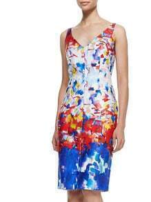 Blue V Neck Sleeveless Floral Print Bodycon Dress