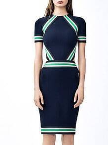 Navy Round Neck Short Sleeve Bodycon Dress