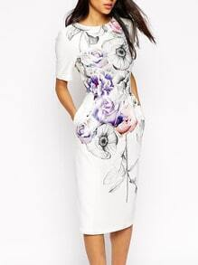 White Short Sleeve Backless Floral Pockets Print Dress