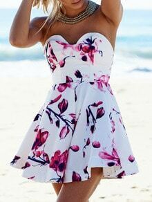 White Strapless Backless Floral Print Flare Dress