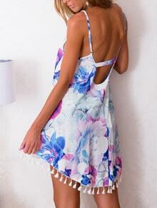 White Spaghetti Strap Backless Floral Print High Low Tassel Dress