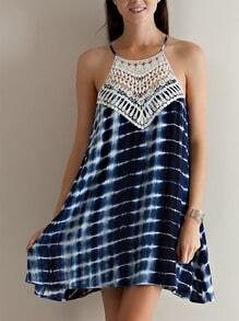 Blue Spaghetti Strap Crochet Lace Geometric Print Dress