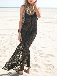 Black Beachy Spaghetti Strap Resort Crochet lace Maxi Beach Dress