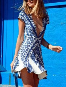 Blue Cap Sleeve Deep V Neck Vintage Print Dress