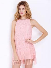 Pink Sleeveless Crochet Lace Tassel Dress