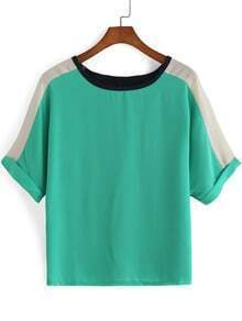Colour-block Round Neck Loose Crop T-Shirt