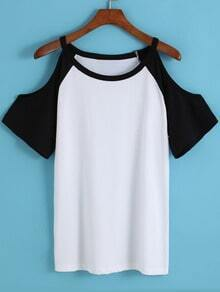 Colour-block Off the Shoulder Loose T-Shirt