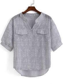 Grey V Neck Vertical Stripe Dip Hem Blouse