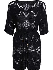 Black Half Sleeve Hollow Knit Dress