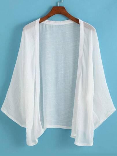 White Long Sleeve Loose Kimono