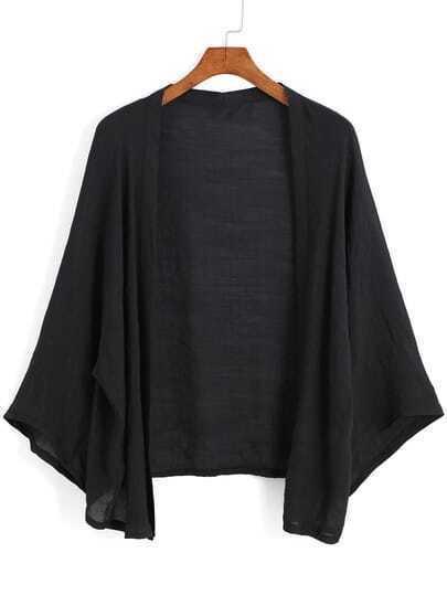 Black Long Sleeve Loose Kimono