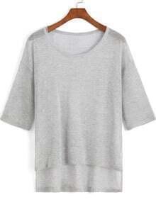 Grey Round Neck Knit Dip Hem Sweater