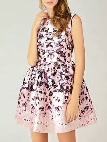 Pink Round Neck Sleeveless Floral Print Dress