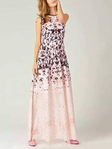 Pink Round Neck Sleeveless Floral Print Maxi Dress
