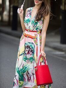 Multicolor V Neck Sleeveless Backless Floral Print Dress
