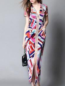 Multicolor Short Sleeve Zipper Geometric Print Maxi Dress