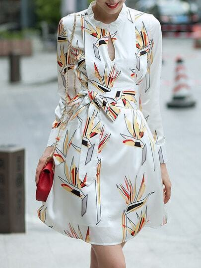 White Stand Collar Long Sleeve Floral Print Dress