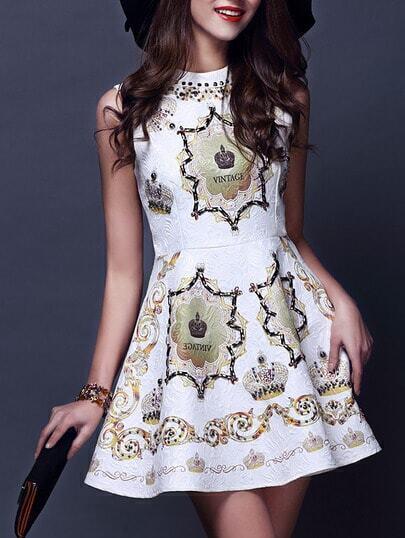 White Sleeveless Digital Print Beading Dress