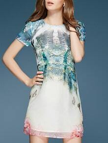 White Round Neck Short Sleeve Print Dress