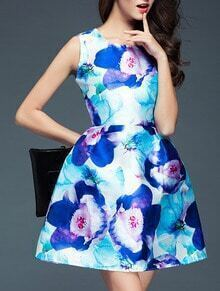 Blue Round Neck Sleeveless Digital Print Pockets Dress
