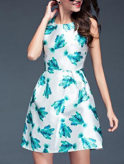 White Sleeveless Digital Print Dress