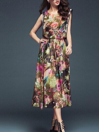 Coffee Round Neck Sleeveless Floral Print Dress