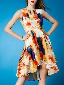 Orange Round Neck Sleeveless Digital Print High Low Dress