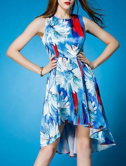Blue Round Neck Sleeveless Digital Print High Low Dress