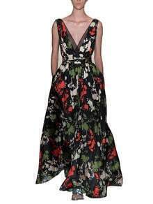 Black Deep V Neck Sleeveless Floral Print Dress