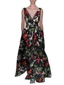 Black Deep V Neck Sleeveless Floral Print Dress