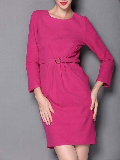Rose Red Boat Neck Length Sleeve Drawstring Pockets Dress