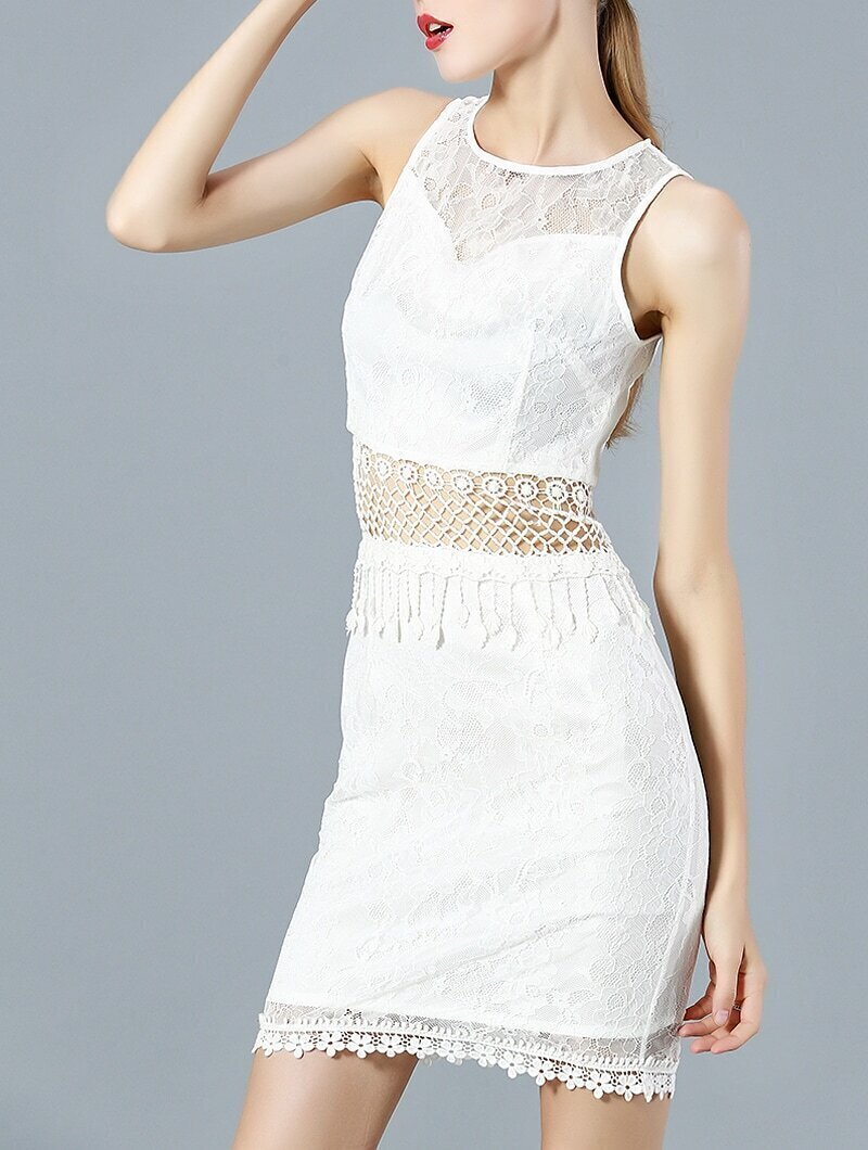 White Round Neck Sleeveless Contrast Gauze Lace Dress