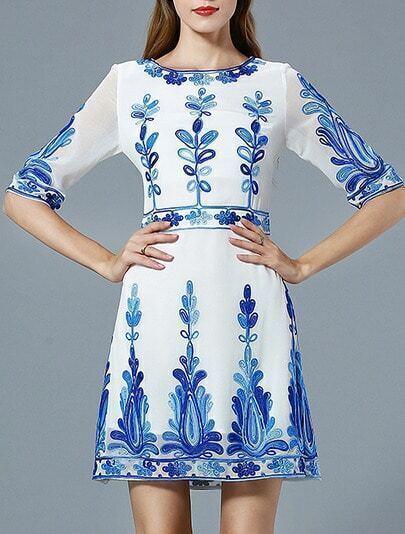 White Round Neck Half Sleeve Embroidered Dress