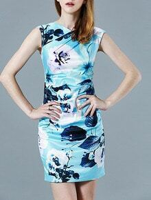 Blue Sleeveless Backless Floral Print Bodycon Dress