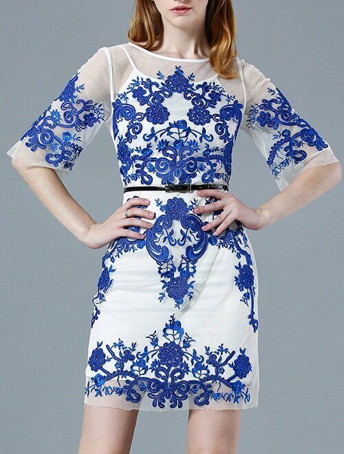 Blue Half Sleeve Contrast Gauze Embroidered Drawstring Dress