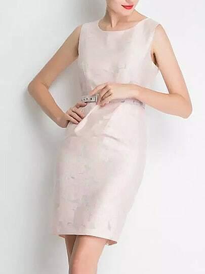 Apricot Sleeveless Floral Print Drawstring Dress
