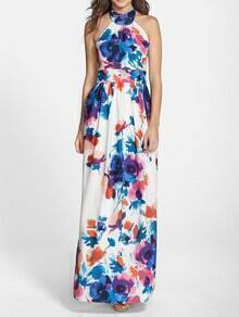 White Halter Backless Floral Print Maxi Dress