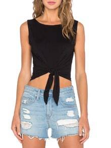 Black Sleeveless Crop Tank Top