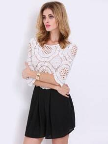 White Black Half Sleeve Lace Hollow Playsuit