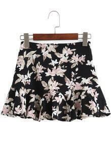 Black Floral Ruffle Mini Skirt