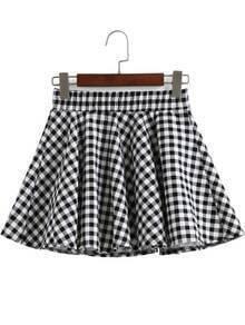 Black White Elastic Waist Plaid Skirt
