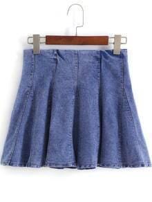 Blue Ruffle Mini Denim Skirt
