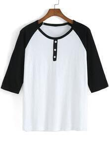 Black White Round Neck Buttons T-Shirt