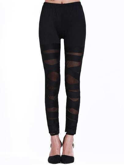 Black Skinny Sheer Mesh Bandage Leggings