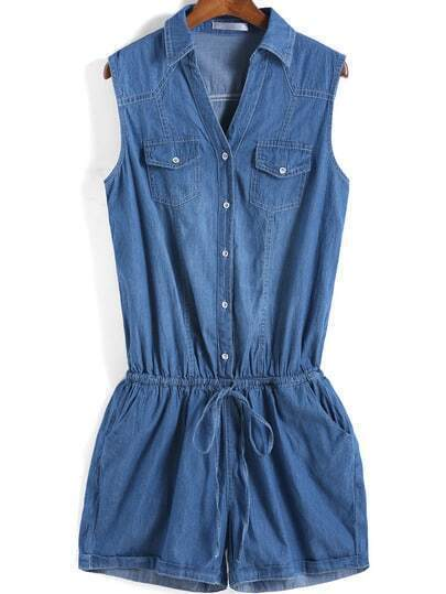 Blue Lapel Sleeveless Drawstring Waist Denim Jumpsuit